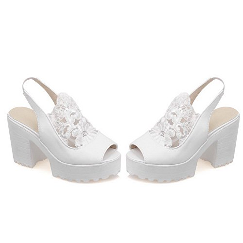 High Pu AllhqFashion On Pull Heels Sandals Toe Women's White Peep Solid 57PqESP