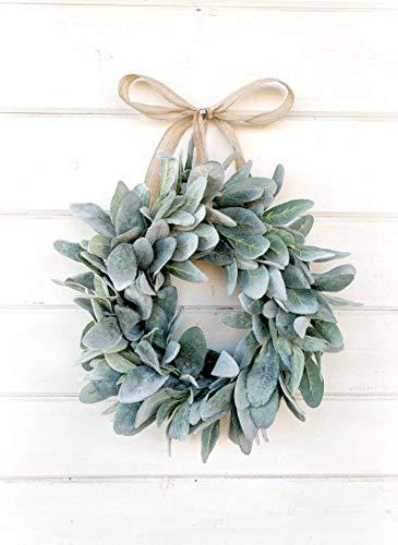 (Mini Wreath, Small Wreath, Window Wreath, Farmhouse Wreath, Lambs Ear Wreath, Farmhouse Decor, Spring Wreath, Summer Wreath, Holiday Wreath, Gift, Housewarming Gift, Wall Hanging)