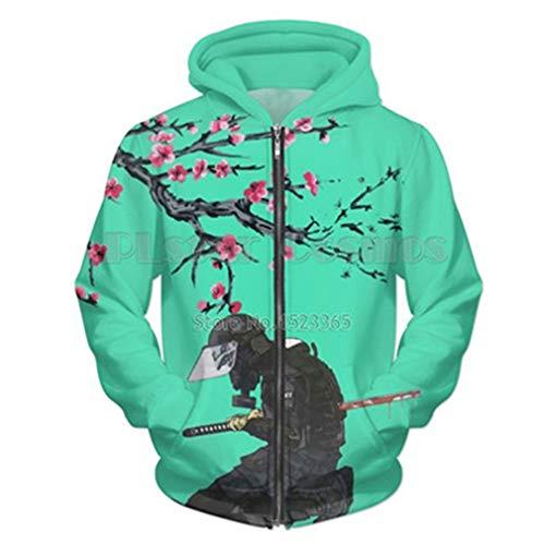 UkEdNs Men 3D Print Hoodies Zip Up Green Lion Print Hoody Sweatshirt Casual Streetwear Tracksuit Jacket Outwear