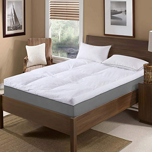 St. James Home Baffle Box 233 Thread Count Cotton Featherbed - White King