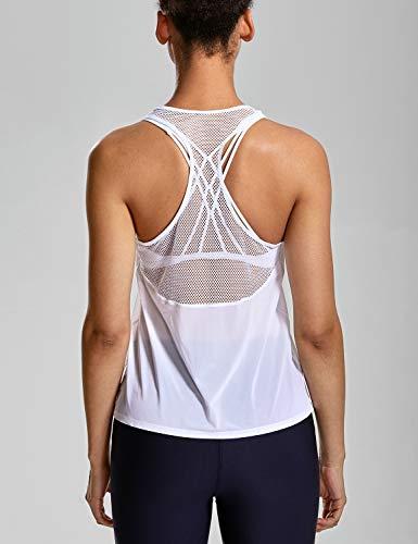3ede192d661f0 CRZ YOGA Women s Activewear Lightweight Mesh Workout Tank Top Running Sport  Shirt