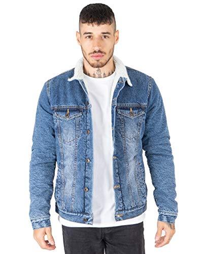 NOROZE Mens Denim Jacket with Detachable Sherpa Collar Classic Fur Jean Trucker Coat