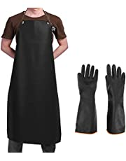 Waterproof Rubber Vinyl Apron & Heavy Duty Latex Gloves, SourceTon Ultra Lightweight Resist Strong Acid, Alkali and Oil Apron & Gloves Best for Staying Dry When Dishwashing, Lab Work, Butcher
