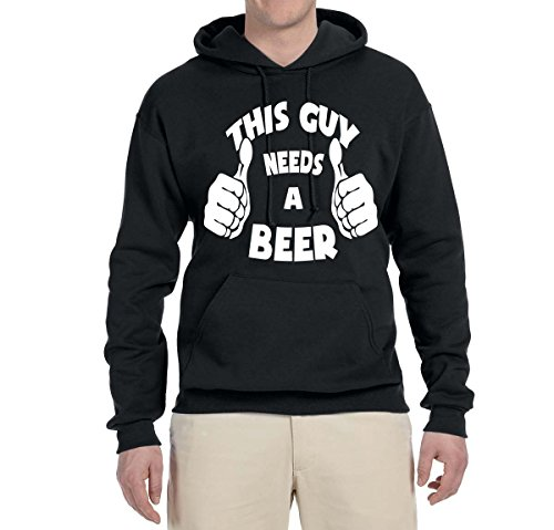 Wild Bobby This Guy Needs A Beer | Drinking Humor Alcohol | Unisex Hooded Sweatshirt Graphic Hoodie, Black, X-Large (Alcohol Sweatshirt)