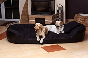 ph7-ll-03 PHILIP Big Sofá para Perro Cama Para Perro Talla XXX XL 2,2 METROS 220cm Negro Cuero Artificial Gran Danés: Amazon.es: Productos para mascotas
