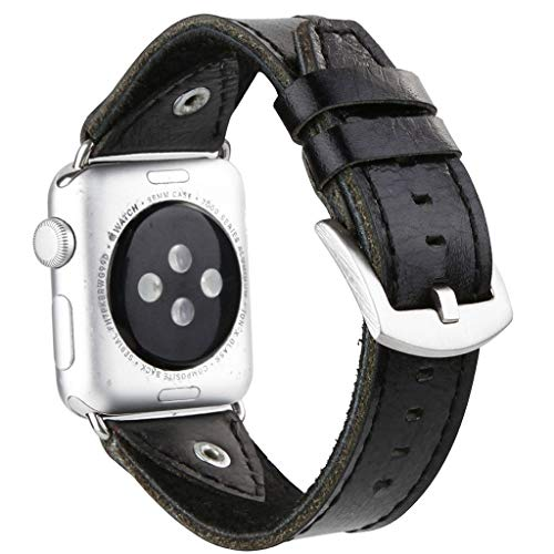 For Apple Watch Series 1/2/3/4 42/44mm, Soft Replacement Leather Watch Band Vintage Watch Strap Quick Release Wriststrap (Black)
