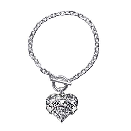 Inspired Silver - School Nurse Toggle Charm Bracelet for Women - Silver Pave Heart Charm Toggle Bracelet with Cubic Zirconia Jewelry