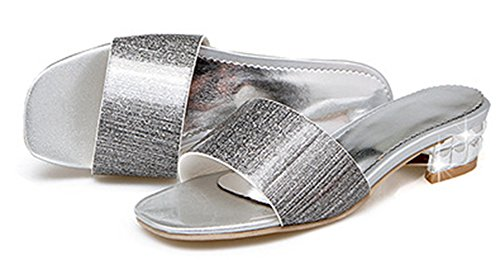 Bout Femme Ouvert Mignon Mules Argent on Slip Chunky Easemax gqEUE