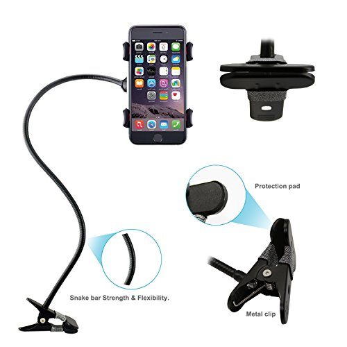 Phone Holder, Costech Heavy Duty Metal Gooseneck Long Arm Fashion Flexible Stand Lazy Bracket 360-degree Rotating Mount Clip on Holder for Iphone, Samsung, and More Other Mobile Phone (Black) by Costech (Image #3)