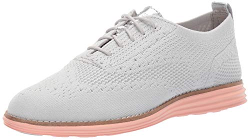 (Cole Haan Women's ORIGINALGRAND Stitchlite Wingtip Oxford Flat, VAPOR GREY KNIT/TROPICAL PEACH)