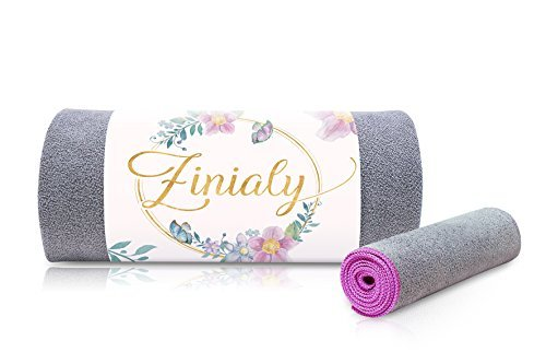 Zinialy Hot Yoga Towels Set - Non Slip Microfiber Large Mat Towel and Small Hand Towel, Super Absorbent and Fast Drying, Best Towel for Bikram Yoga