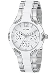 GUESS Womens U0556L1 Sporty Silver-Tone Watch with White Dial , Crystal-Accented Bezel and White Center Link...