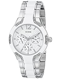 GUESS Women's U0556L1 Stainless Steel & White Multi-Function Watch