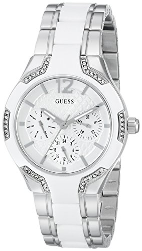 GUESS Women's U0556L1 Sporty Silver-Tone Watch with White Dial , Crystal-Accented Bezel and White Center Link Pilot ()