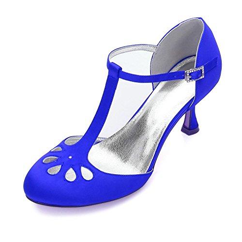 Elegant high shoes Mujeres Wedding F17061-28 Party Evening Dama de Honor Zapatos de Tacón Bajo/Zapatos de Boda Personalizados Blue