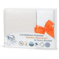 Baby Crib Mattress Pad and Fleece Blanket by BCBG|Bamboo Hypoallergenic Waterproof Protector Cover and Receiving Blanket| Toddler's Bed Present Set