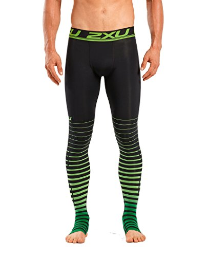 2XU Men's Elite Power Recovery Compression Tights, Black/Green, Small by 2XU (Image #1)