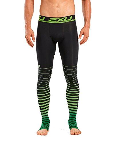 2XU Men's Elite Power Recovery Compression Tights (Black/Green, Medium Tall) by 2XU (Image #1)