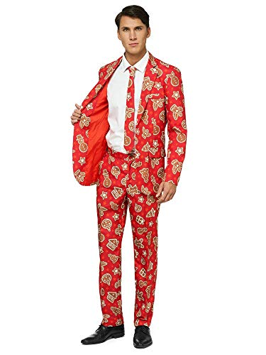 OFFSTREAM Ugly Christmas Suits for Men in Different Prints - Xmas Sweater Costumes Include Jacket Pants & Tie,Red Gingerbread,Large ()
