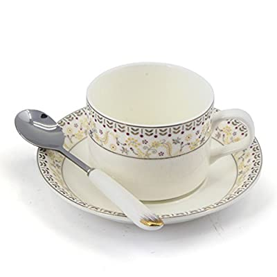 Porcelain Tea Cup and Saucer Coffee Cup Set with Saucer and Spoon 18 pc, Set of 6