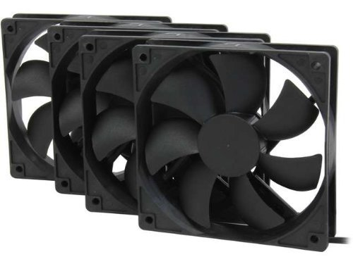 Black Case Fan - Rosewill 120mm Case Fan 4-Pack, Long Life Sleeve Bearing Computer Case Fan ROCF-13001, Ultra Quiet Computer Cooling Fan 4 Pack 120 mm Standard Case Fan