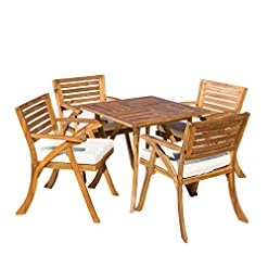 Garden and Outdoor Christopher Knight Home Hermosa Acacia Wood Dining Set, 5-Pcs Set, Teak Finish patio dining sets