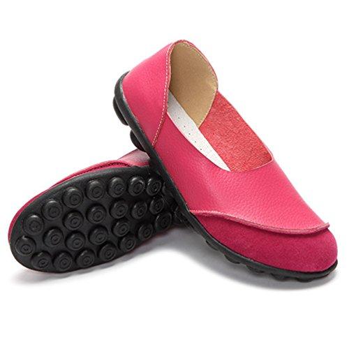 43 farbenreichen Leder Komfort Schuhe Casual Atmungsaktive Loafers Rose 35 Weiches JRenok Freizeit Rote Flache Frauen tv1qwx7R