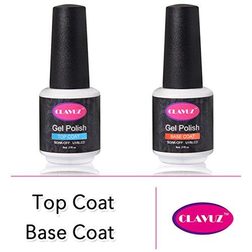 CLAVUZ Gel Nail Polish Base Coat and Top Coat Kit Set Soak Off UV LED Kit Set 8ml