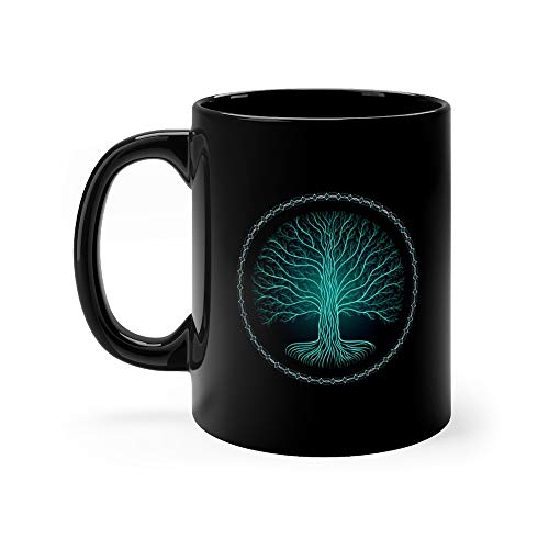 Druidic Yggdrasil Tree At Night Round Silhouette Cream And Brown Logo Gothic Ancient Book Style Druids Water Mug 11oz Ceramic