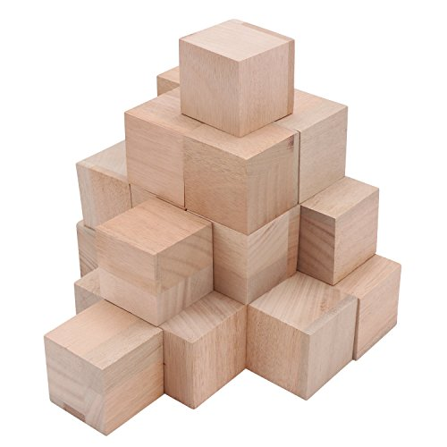 (Unfinished Wood Block, Segarty Blank Wooden Blocks 24pcs 2 Inch Natural Solid Smooth Surface Square Wood Cubes, Ideal for Baby Shower, Puzzle Making, Wooden Craft, DIY Project)