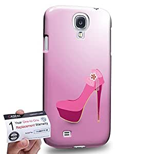Case88 [Samsung Galaxy S4] 3D Printed Snap-on Hard Case & Warranty Card - Art Hand Drawing Pink High Heels