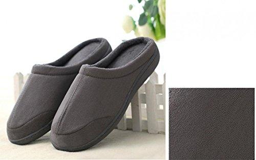 Heren Katoenen Indoor Huis Slippers Memory Foam Warme Winter Slippers Antislip Outdoor Schoenen Kerstcadeau Grijs