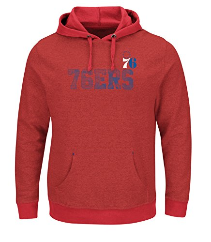 VF LSG Right Intentions Program NBA Men's Long Sleeve Pullover Hood, Large, Authentic Red Heather-Athletic Red-Deep Royal