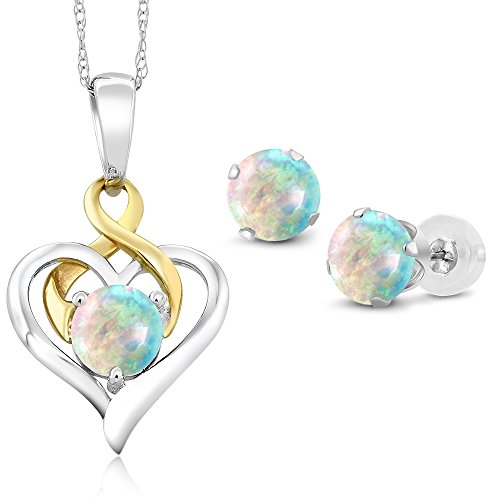10K Two Tone Gold 2.00 Ct Cabochon White Simulated Opal Pendant Earrings Set by Gem Stone King