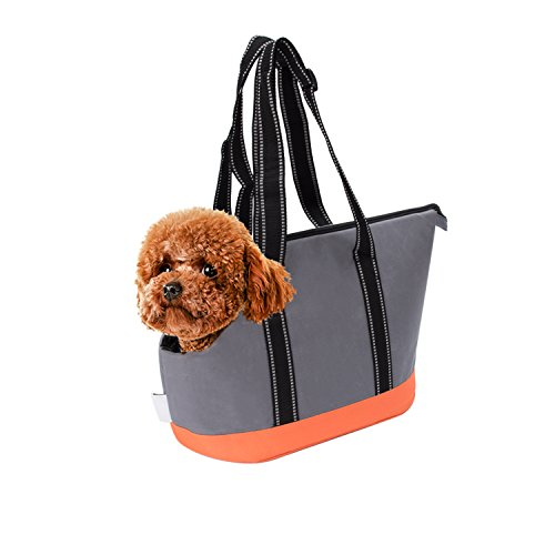 Carrier Pet Dog Tote (Pet Carriers, Portable Small Pet Dog Puppy Cat Travel Outdoor Carrier Carry Tote Bag (Dark Grey) - Go Shopping, Hiking, Walking, with Doggy (Orange))