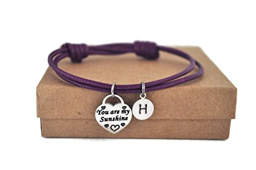 Stainless steel you are my sunshine initial waxed cord bracelet available in assorted (Initials Stainless Steel Bracelet)