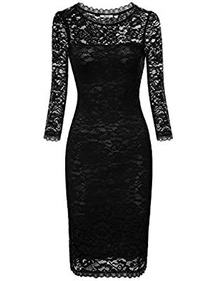 Bebonnie Women's 3/4 Sleeves Sexy Lace Cocktail Party Special Occasions Dresses