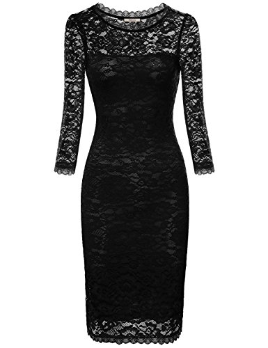 Bebonnie Lace Dress, Women 3/4 Sleeves Little Black Dress Sexy Round Neck Midi Swing Dresses Black M