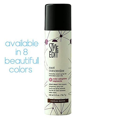 Style Edit Medium Brown Root Concealer - Root Touch Up Spray For Medium Brown Hair Color - Temporary Hair Color Spray Instantly Covers Grey Hair
