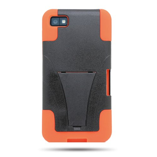 CoverON HYBRID Dual Heavy Duty Hard BLACK Case and Soft ORANGE Silicone Skin Cover w/ Kickstand for BLACKBERRY Z10 (VERIZON , ATT , T-MOBILE) [WCE182] -