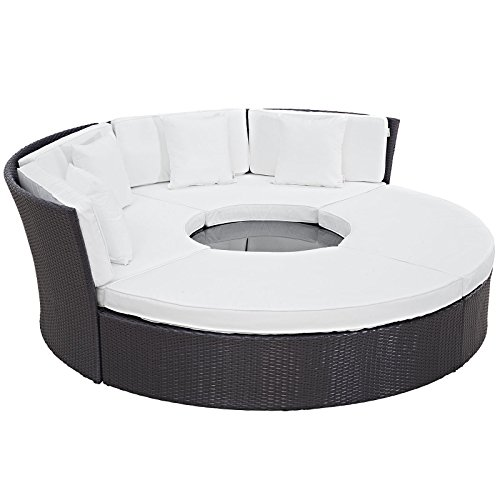 (Modway Convene Wicker Rattan Outdoor Patio Sectional Daybed in Espresso White )