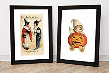 graphic about Vintage Halloween Printable identify : Traditional Halloween Print Established of 2, Pumpkin Print