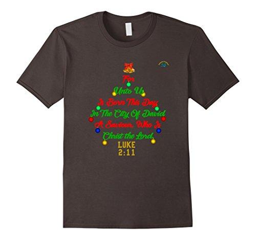 Mens For Unto Us Is Born - Premium Bible Christmas T-Shirt 2XL Asphalt