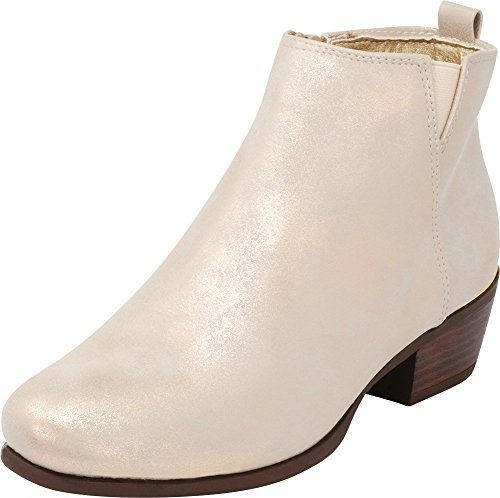 Cambridge Select Women's Closed Toe Chunky Stacked Low Metallic Heel Ankle Bootie,8 M US,Rose Gold ()