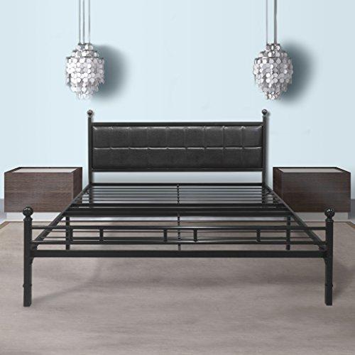Best Price Mattress Model H-Plus Easy Set-up Steel Platform Bed Frame, Full Size, Black