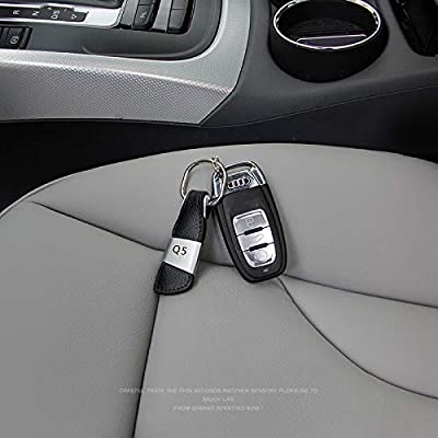 aikeec Metal Leather Car Ring Keychain Keyfob for Audi A3 A4 A5 A6 A7 Q3 Q5 Q7 TT: Automotive