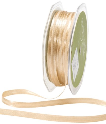 May Arts 1/4-Inch Wide Ribbon, Antique Gold Satin with Center Band by May Arts