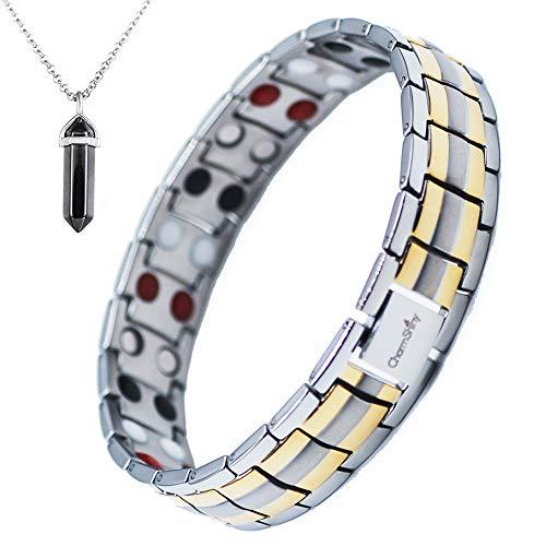 Double Strength Titanium Magnetic Therapy Bracelet Dual Row 4 Bio Elements Energy Balance for Mens Arthritis Relief Pain Carpal Tunnel + Hematite Pendant -