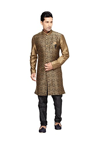 Asmafashion Store Indian Kurta Pajama Set For Men Wedding Festival Partywear In Black Brocade Art Silk by Asmafashion Store