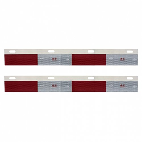 United Pacific Aluminum Straight Conspicuity Reflector Top Flap Plates Aluminum Universal Mud Flaps